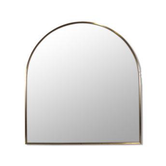 Arch Shape Satin Brass Stainless Steel Framed Mirror - 80cm x 76cm