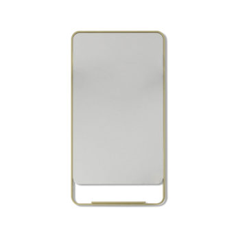 Radius Corner Satin Brass Stainless Steel Framed Mirror with Shelf - 100cm x 56cm