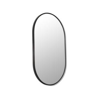 Pill Shape Black Stainless Steel Framed Mirror - 90CM