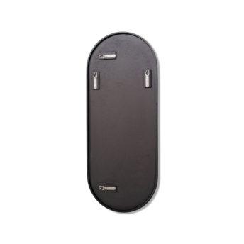 Pill Shape Black Stainless Steel Framed Mirror - 100CM