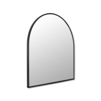 Arch Shape Black Stainless Steel Framed Mirror - 80cm x 76cm