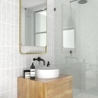 Radius Corner Satin Brass Stainless Steel Framed Mirror with Shelf - 100cm x 56cm