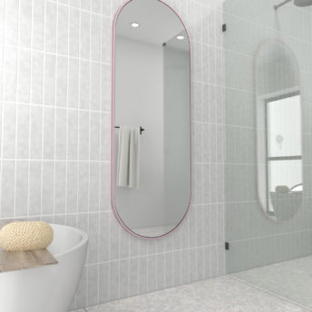 Pill Shape Pink Stainless Steel Framed Mirror - 150CM