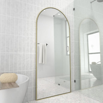 Arch Leaner Dressing Satin Brass Stainless Steel Framed Mirror - 76CM