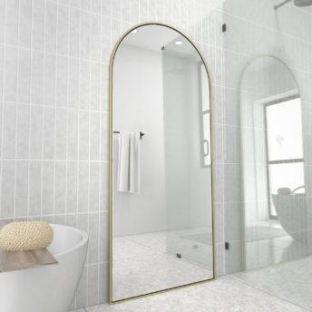 Arch Leaner Dressing Satin Brass Stainless Steel Framed Mirror - 76CM