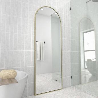 Arch Leaner Dressing Satin Brass Stainless Steel Framed Mirror - 60CM