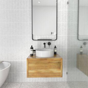 Radius Corner Black Stainless Steel Framed Mirror with Shelf - 100cm x 56cm