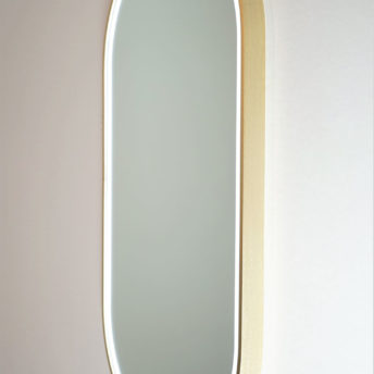 Gatsby Pill Shaped LED with Brushed Brass Frame - 45CM x 90CM