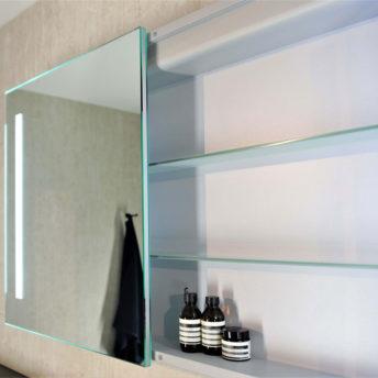 Amber LED Mirrored Cabinet with Demister - (75cm x 70cm), (90cm x 70cm), (120cm x 70cm), or (150cm x 70cm)