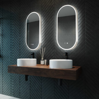 Gatsby Pill Shaped LED with Brushed Nickel Frame - 45CM x 90CM