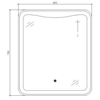 LED Mirror with Sensor Switcher – (60cm x 70cm)