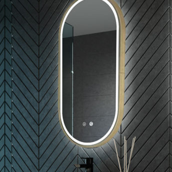 gatsby brushed brass frame led mirror pill shaped