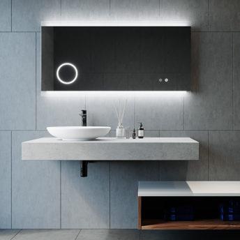 Miro Magnifique LED Mirror with Magnifier in Frameless - (120cm x 70cm), (150cm x 75cm), or (180cm x 85cm)