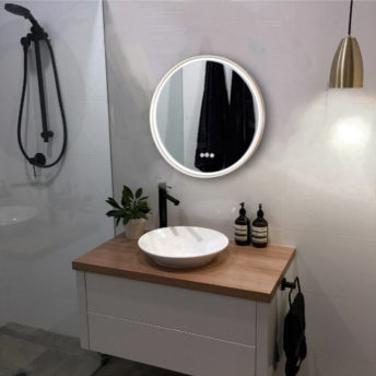 sphere gold brushed brass round led mirror
