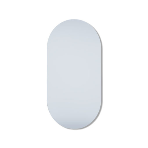 Pill Shape Polished Edge Mirror - Glue-To-Wall or Metal Hangers