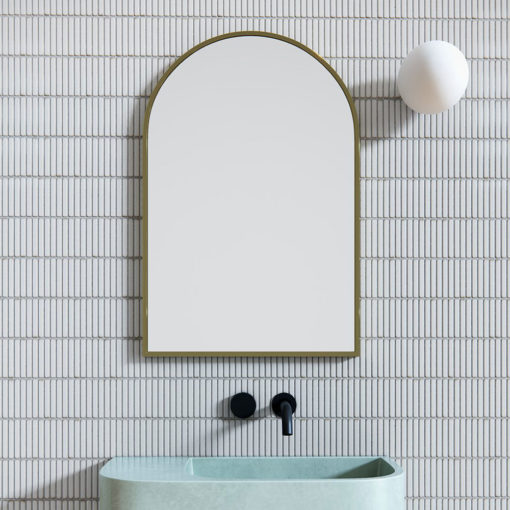 Arch Mirror Satin Brass - 76cm x 50cm