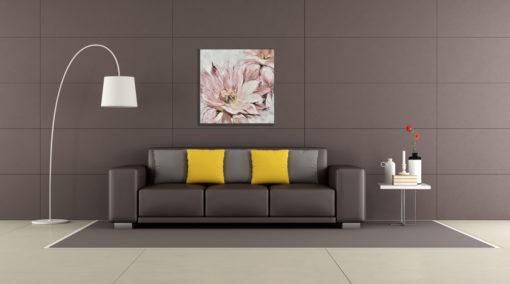 Pink Clyde Flower Wall Art Canvas 80 cm X 80 cm