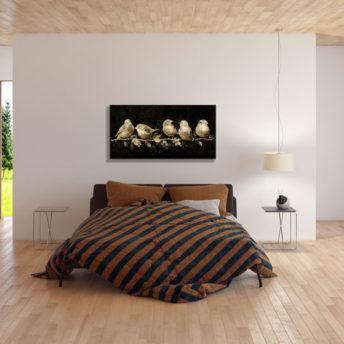 Golden Birds Wall Art Canvas 100 cm X 50 cm