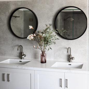 Milan Black Frame Round Mirror