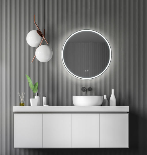 sphere round led mirror with bluetooth