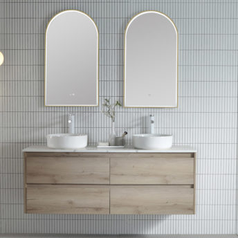Brushed Brass Arch 500D LED Mirror