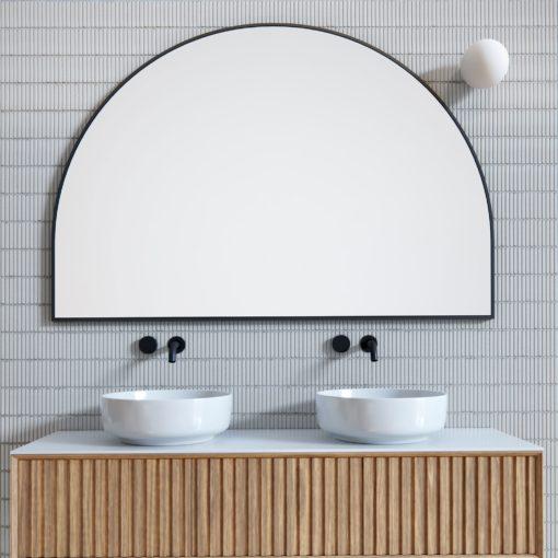 Arch Metal Frame Bathroom Mirror Black - 100cm x 150cm