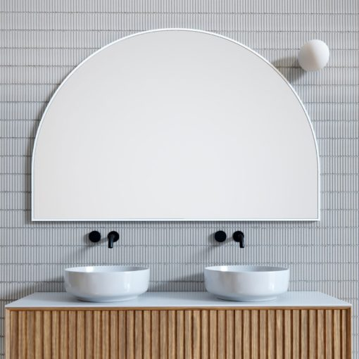 Arch Metal framed Bathroom Mirror White - 100cm x 150cm