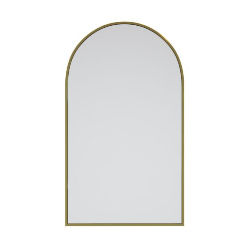 Arched Gold Brass Metal Frame Bathroom Mirror - 96cm x 56cm