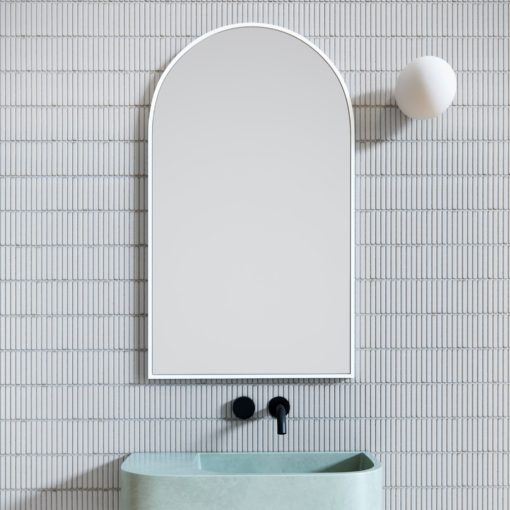 Arched White Metal Framed Bathroom Mirror