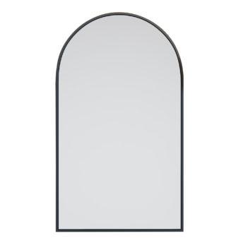 Black Arched Metal Frame Bathroom Mirror - 96cm x 56cm