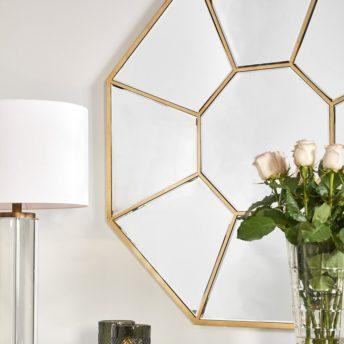 Mary Octagonal Gold Wall Mirror
